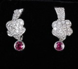 A pair of vintage ruby and diamond earrings, white gold (2)