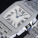 Cartier 'Santos Demoiselle'. Ladies watch, steel, with pale dial, c. 2010
