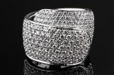 DAMIANI diamond ring, 18 kt. white gold, approx. 3.30 ct.