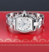Cartier 'Roadster'. Men's watch in steel with silver-coloured dial with date - box + cert. 2010