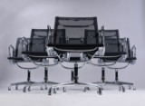 Charles Eames. A set of six lounge chairs with black mesh fabric, Model 108 (6)