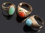 Vintage ringe, 8- og 14 kt guld, 1900-tallets midte (3)
