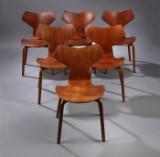 Arne Jacobsen. Six Grand Prix chairs, model 4130, teak (6)