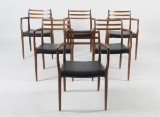N. O. Møller. Armchairs, model 62, oak and leather (6)