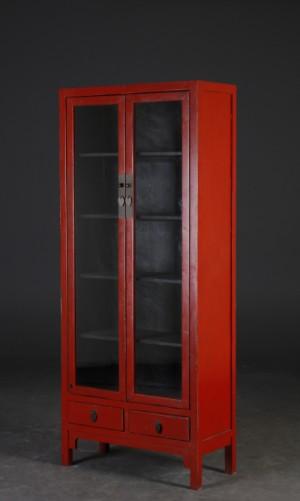 m bel chinesische vitrine schrank aus rot antikbemaltem holz dk roskilde. Black Bedroom Furniture Sets. Home Design Ideas