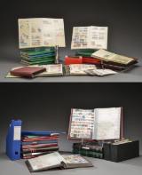 Samling frimærker i to flyttekasser, 33 album