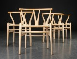 Hans J. Wegner. Four Wishbone chairs, model CH-24, beech (4)