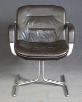 Sessel / Lounge chair in Leder, 1970er / 1980er Jahre