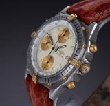 Breitling 'Chronomat Chronograph' men's watch, 18 kt. gold and steel, with strap and clasp, 1990's