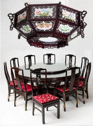 m bel korea 20 jh runder esstisch zehn st hlen und einer pendellampe 12. Black Bedroom Furniture Sets. Home Design Ideas