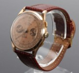 Vintage Chronograph men's watch from Dom-Watch Genève. 18 kt. gold case