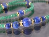 Kette aus grüner Jade mit Lapis Lazuli und Sterlingsilber