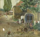 H.Hermanns, basket weavers, watercolour on paper