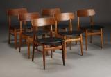 Dansk møbelproducent, spisestole, nybetrukket (6)