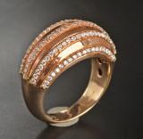 18 kt red gold ring, brilliant-cut diamonds