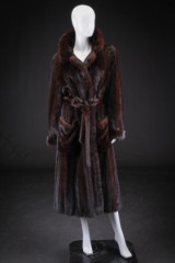 Mink coat, mahogany, size 42, labelled Ib Simmelhack