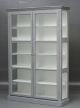 Display cabinet, grey antique paint finish