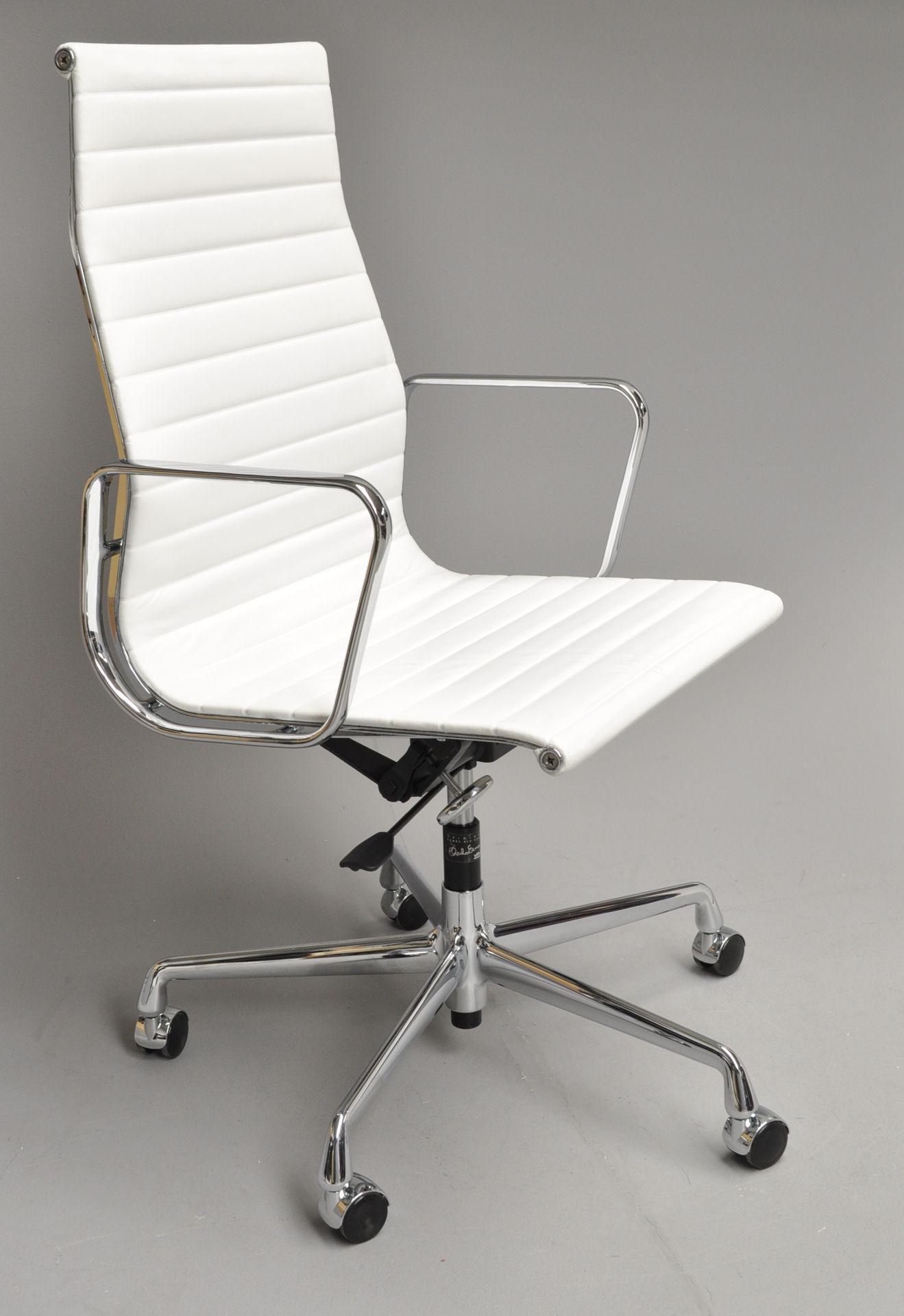 hvid læder kontorstol