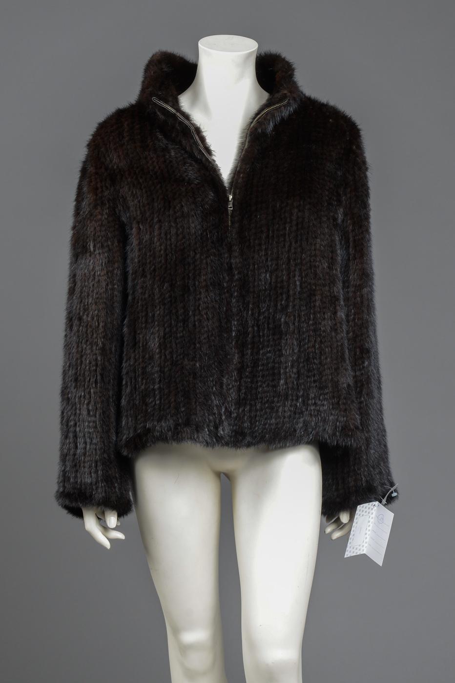 strikket mink jakke