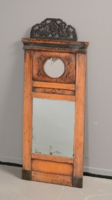 Spejl i ramme af sortstafferet frugttræ, 1800-tallet