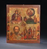 Rare Russian Icon with five Main Motives and six Saints in the Frame. 18th / 19th Century