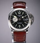 Panerai 'Luminor GMT' men's watch, steel, black dial, c. 2010