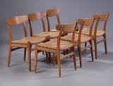 Hans J. Wegner. Seks stole, model CH23 med stel af egetræ. (6)
