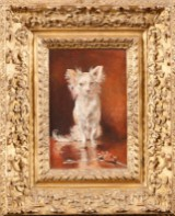 Francois Flameng Portræt af hvid skødehund, olie på plade