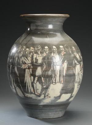 vare 3385444 harald folmer gross knabstrup teglv rk vase af keramik med religi st motiv. Black Bedroom Furniture Sets. Home Design Ideas
