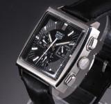 Tag Heuer 'Monaco'. Men's watch, steel with black dial