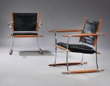 Jens Harald Quistgaard. A pair of lounge chairs, Stokke Chair, teak and black leather (2)