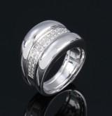Diamond ring, 18 kt. white gold, total approx. 1.00 ct. F-G/VVS
