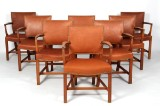 Kaare Klint. Set of eight armchairs, 'The Red Chair', (8)