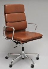 Charles Eames. Office chair, model EA-219, brown leather