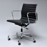 Charles Eames. Office chair, black leather, model EA-117