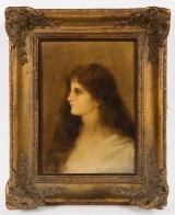Édouard Alexandre Sain, painting, portrait of a young woman