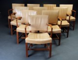 Kaare Klint . Ten armchairs, The Red Chair, mahogany, upholstered in pale leather (10)