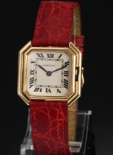 Cartier 'Ceinture'. Ladies watch, 18 kt. gold with original strap and clasp
