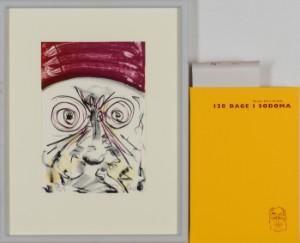Frans Kannik, litografisk trykt særudgivelse samt signeret forlæg til indvendig vignet, 120 Dage i Sodoma af Marquis D.A.F. de Sade. cd. (2) - Dk, Herlev, Dynamovej - Litografisk særudgave af Marquis D.A.F. de Sades '120 Dage i Sodoma' samt originalt forlæg til vignet på s. 112, illustreret af Frans Kannik (1949-2011). Udgivet i 1998, bog ombundet i gult Viking Gummi, indvendigt sign. Frans K - Dk, Herlev, Dynamovej