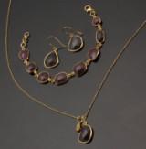 Rubin smykkesæt i forgyldt sterlingsølv (3)
