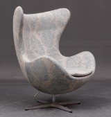 Arne Jacobsen. Lounge chair, model 3316, The Egg, upholstered in special pale jacquard weave covers