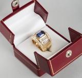 Gold ring featuring brilliant-cut diamonds, diamonds, and sapphire - 3.24 ct. + 5.22 ct.