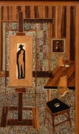 John Börén, figurkomposition. Intarsia och mixed media (BUS)