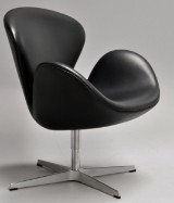 Arne Jacobsen. The Swan, lounge chair with leather, model 3320