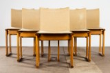 Afra & Tobia Scarpa, Molteni, six chairs, model 'Monk', ash and linen, Italy, 1970s (6)