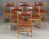 Børge Mogensen. Seks stole af egetræ model. BM 73 (6)