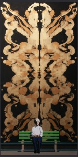 Fritz Böttger, acrylic on canvas 'Andy and Double Mirrored Rorschach'