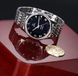 Omega 'De Ville Chronometer'. Men's watch, steel, with black dial - box + certificate 2014