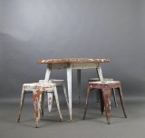 Xavier Pauchard, vintage metal dining table + set of stools for Tolix. (5)