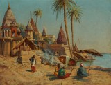Holger H. Jerichau. Scene from Benares by the Ganges in India. Oil on canvas
